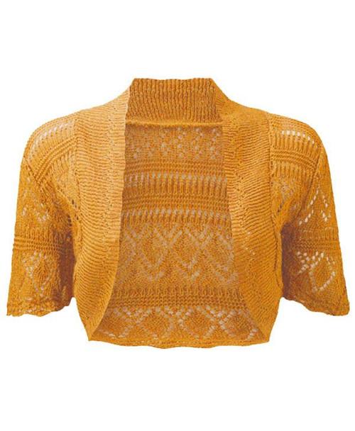 Crochet Knitted Bolero Shrug In Mustard & Turquoise