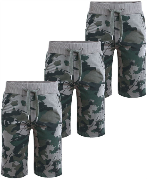 Boys Jersey Camouflage Print  Shorts (Pack of 3) in Grey