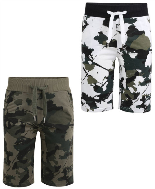 Boys Camo Print Jersey Shorts (Pack of 2) in White and Khaki