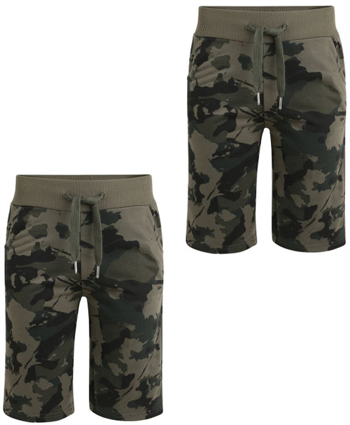 Boys Camo Print Jersey Shorts Bundle (Pack of 2) in Khaki