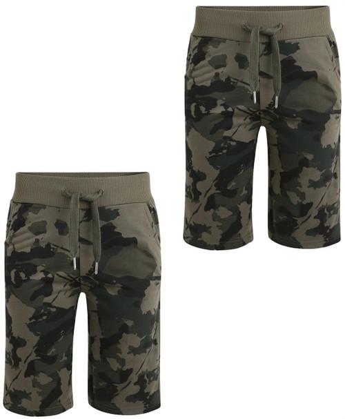 Boys Camo Print Jersey Shorts Bundle (Pack of 2) in Khaki