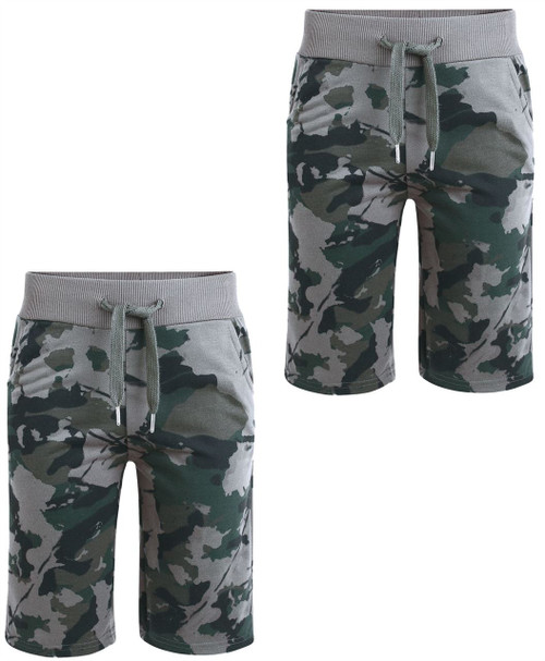 Boys Camo Print Jersey Shorts Bundle (Pack of 2) in Grey