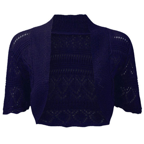 Crochet Knitted Bolero Shrug In Charcoal, Peach & Navy Blue