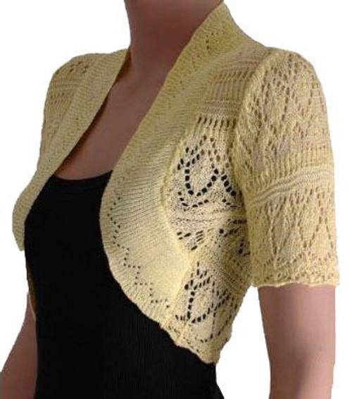 Crochet Knitted Bolero Shrug In Lilac, Yellow, Cream & White