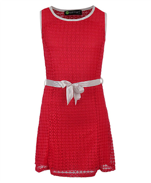 Girls Belted Summer Sleeveless Dress Lace Texture in Red, Yellow and Navy