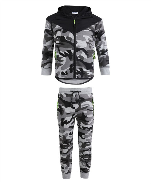 Boys Quilted Hood 2 Piece Tracksuit in Charcoal, Khaki ir Grey