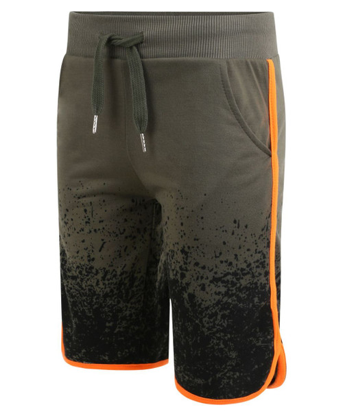 Boys Jersey Shorts Splash Print in Black, Khaki and Grey Marl