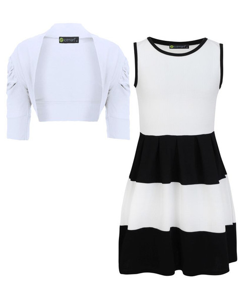 Girls Skater Dress and Shrug Bundle in White
