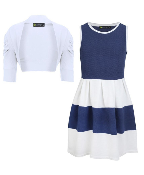 Girls Skater Dress and Shrug Bundle in Blue and White