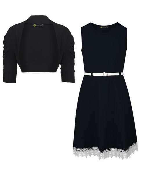 Girls Lace Hem Dress and Shrug Bundle in Black