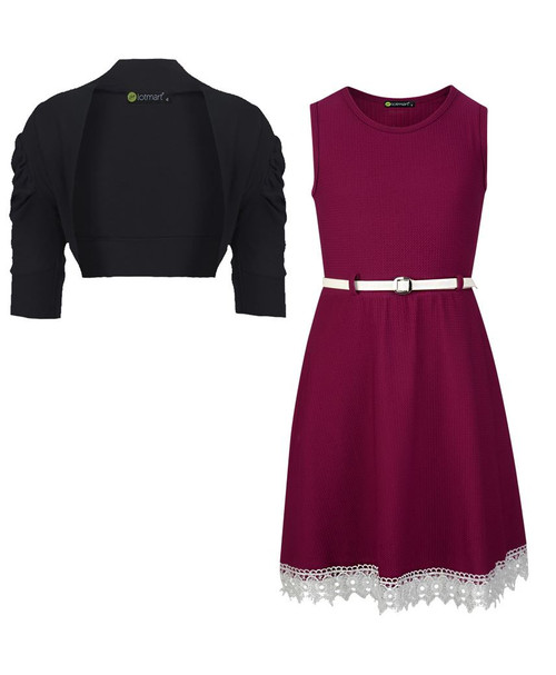 Girls Lace Hem Dress and Shrug Bundle in Burgundy and Black