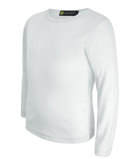 Kids Long Sleeve Plain Top in Black, White and Brown