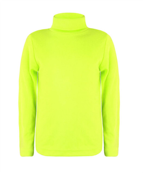 Kids Turtleneck Basic Top in Neon Yellow, Green and Black