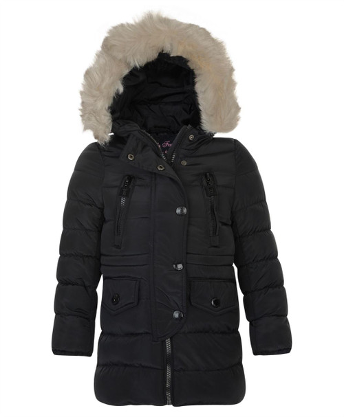 Girls Winter Quilted Jacket in Dusty Pink and Black