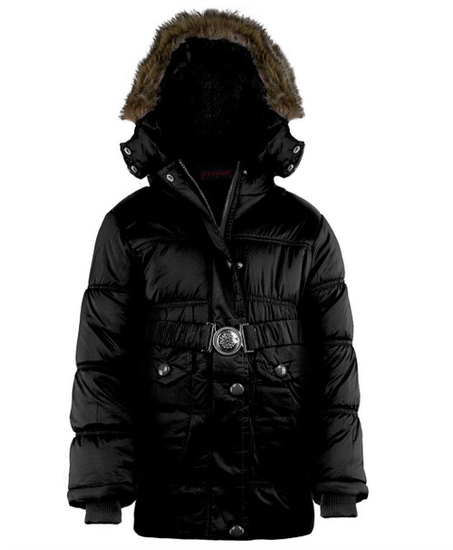 Girls Quilted Winter Jacket in Black, Red and Hot Pink