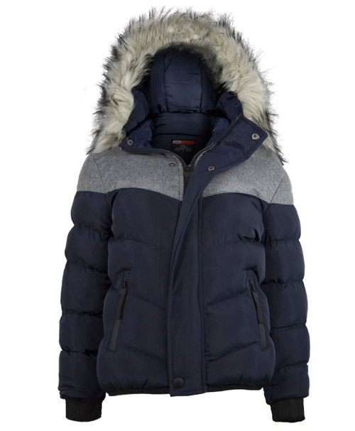 Boys Contrast Insert Winter Jacket in Black, Charcoal and Navy