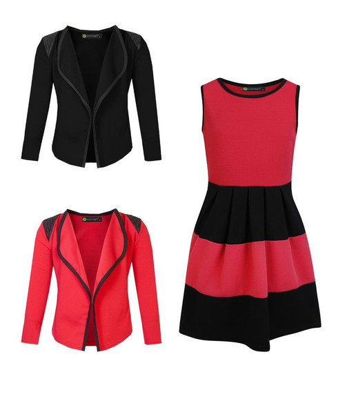 Girls Skater Dress and 2 Jackets Bundle in Red, Bright Red and Black