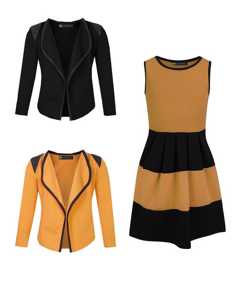Girls Skater Dress and 2 Jackets Bundle in Mustard and Black
