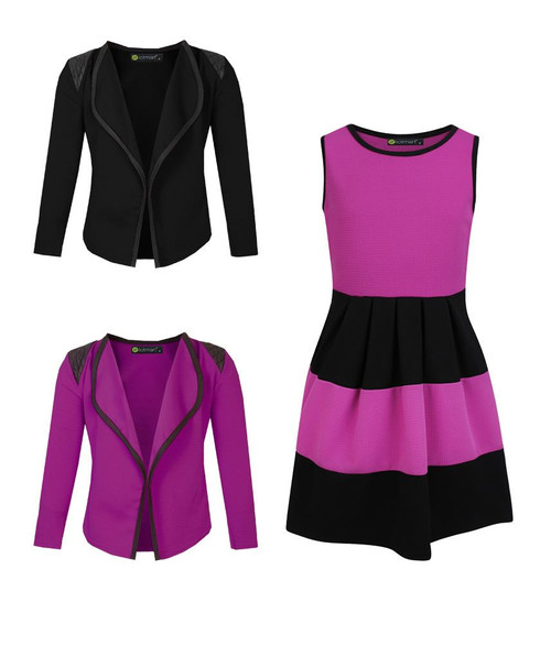 Girls Skater Dress and 2 Jackets Bundle in Violet and Black
