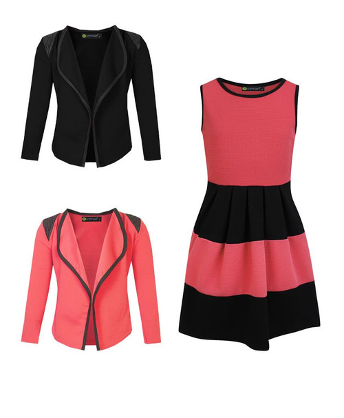 Girls Skater Dress and 2 Jackets Bundle in Coral and Black
