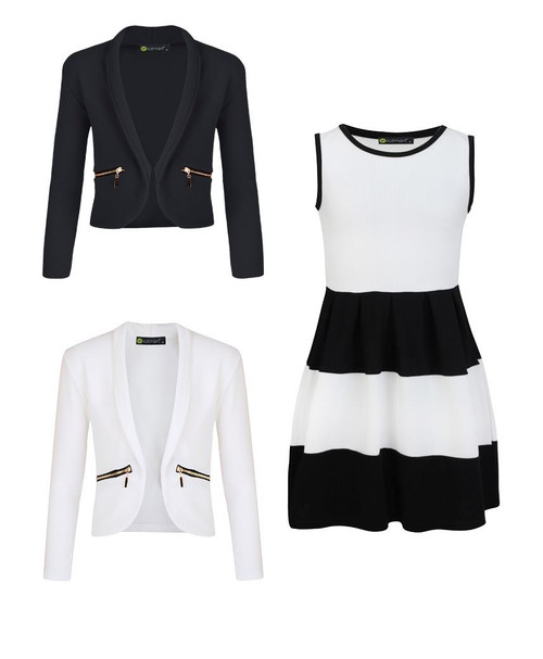 Girls Skater Dress Bundle with 2 Jackets in White and Black