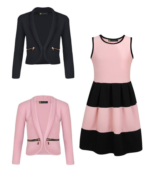 Girls Skater Dress Bundle with 2 Jackets in Peach, Pink and Black