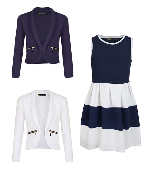 Girls Skater Dress Bundle with 2 Jackets in Navy and White