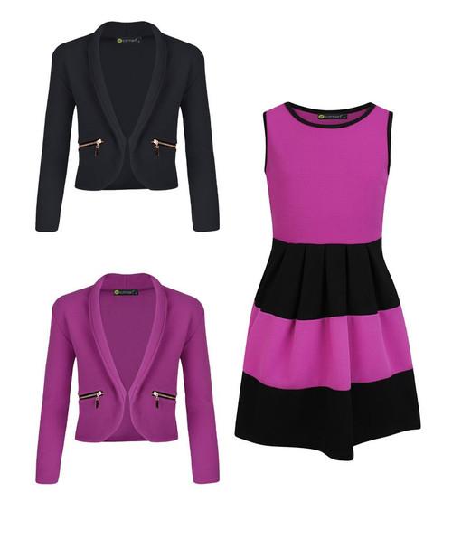 Girls Skater Dress Bundle with 2 Jackets in Violet and Black
