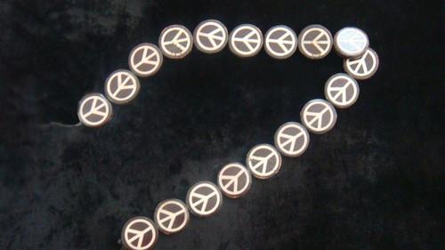 Bone & Ebony Peace Sign - Strand - 26.5mm x 4.5mm