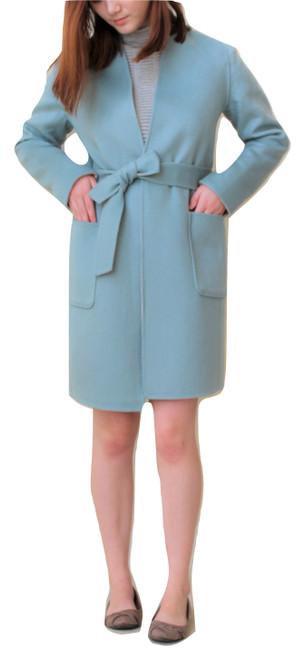 Double Face Reversible Blush/Cambridge Blue Wool Coat