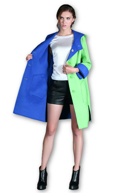 Double Face Reversible Royal Blue/ Lime Green Cashmere Wool Coat