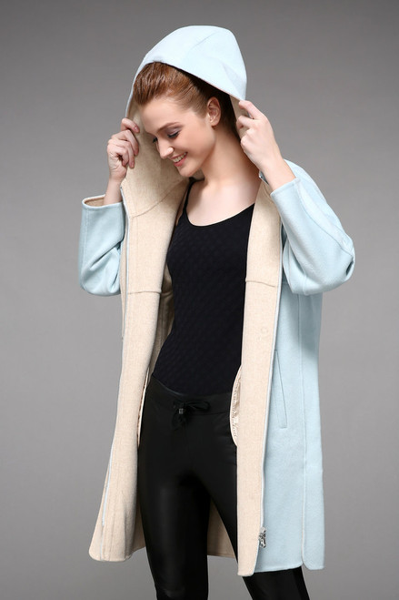 Double Faced Light Blue Hooded Wool Coat