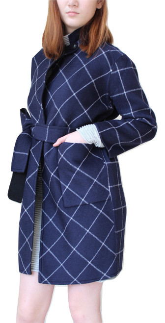 Double Face Reversible Navy/Black Wool Coat
