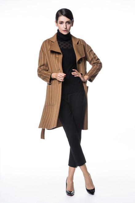Pinstriped Camel Wool Coat