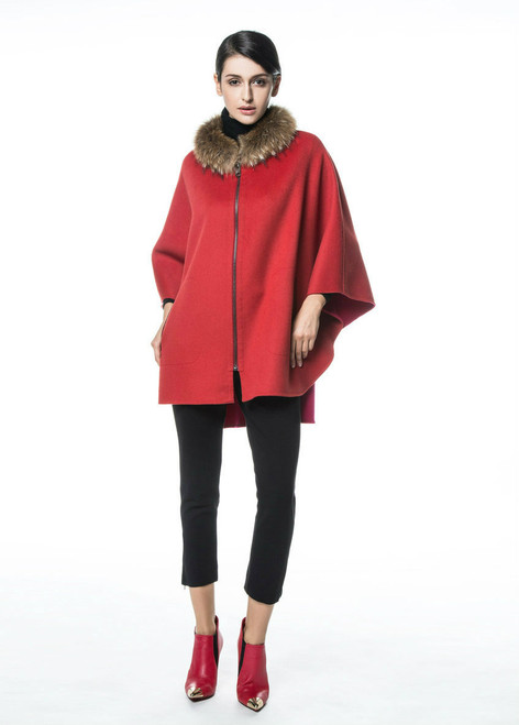 Red Cashmere Wool Cape with Removable Fur Collar