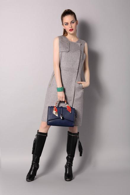 Double Face Ash Grey Wool-Cashmere Vest Dress