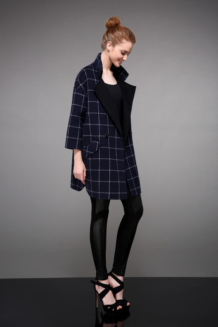 Double Face Navy Checkered Wool Coat