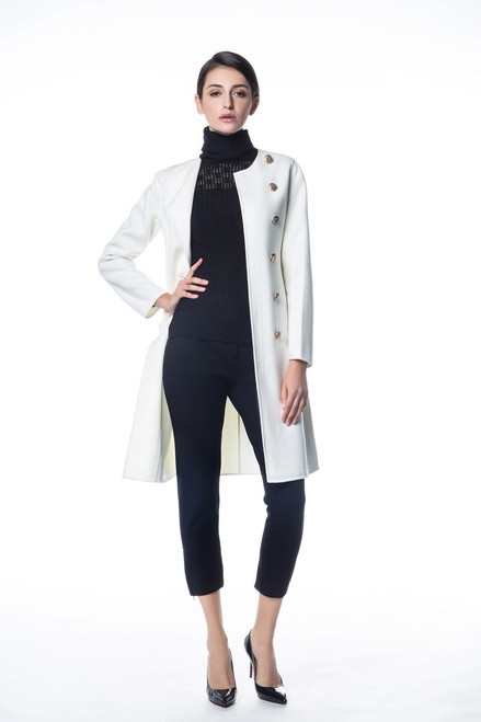 Double  Face White Wool-Cashmere Coat