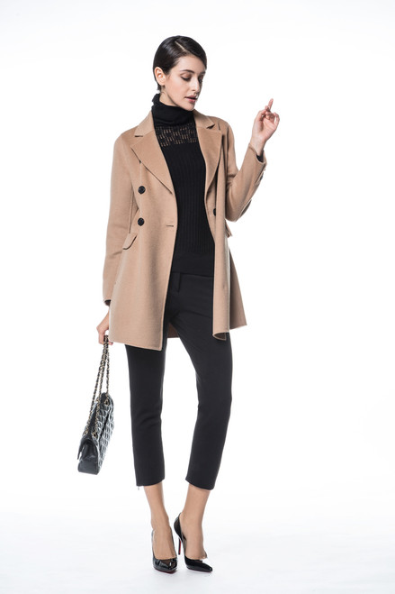 Double Face Camel Double-breasted Wool Blazer