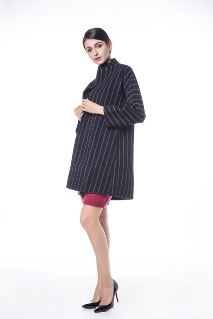 Double Face Reversible Navy with White Stripes Coat