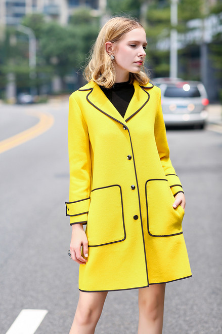 Double Face Yellow Wool-Cashmere Coat with Black Trim