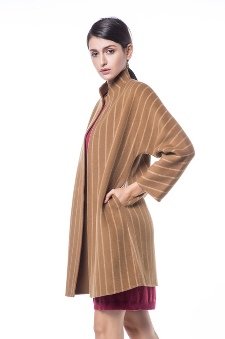 Double Face Reversible Camel Coat with White Striped Pattern
