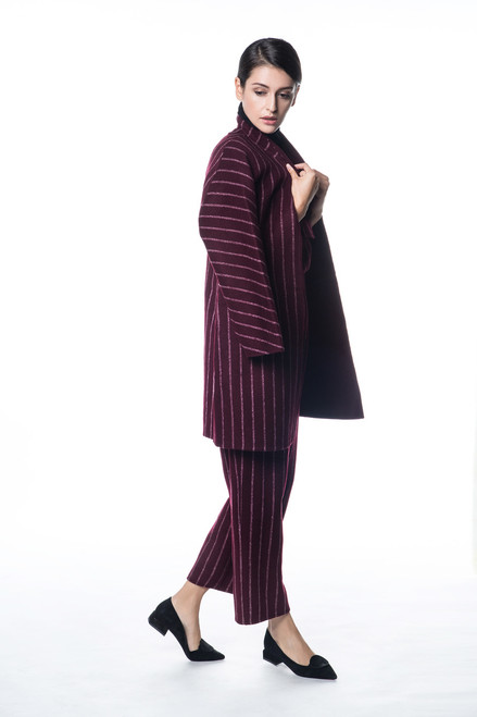 Double Face Reversible Burgundy with White Stripes Coat