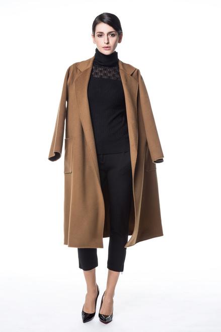 Double Face Cognac Brown Wool-Cashmere Coat