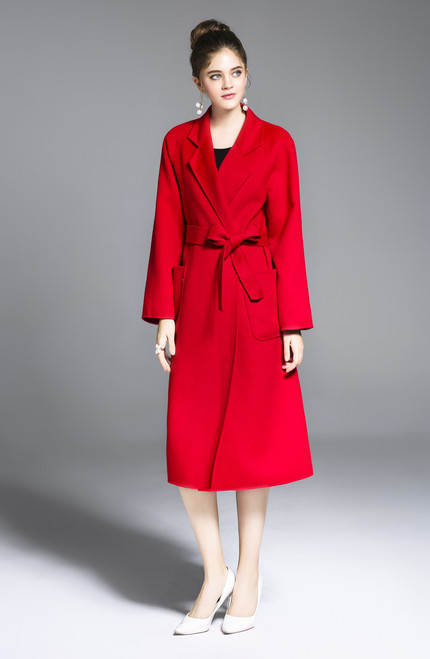Long Red Double Face Cashmere-Wool Overcoat