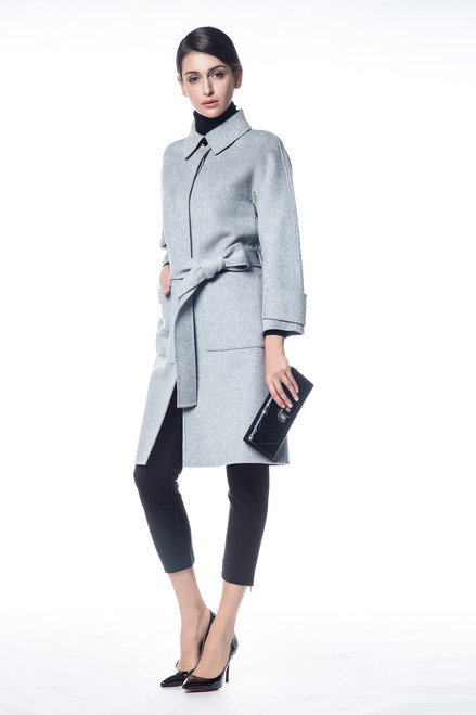 Double Face Heather Gray Wool Cashmere Coat