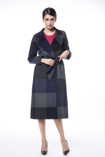 Double Face Navy Checkered Overcoat