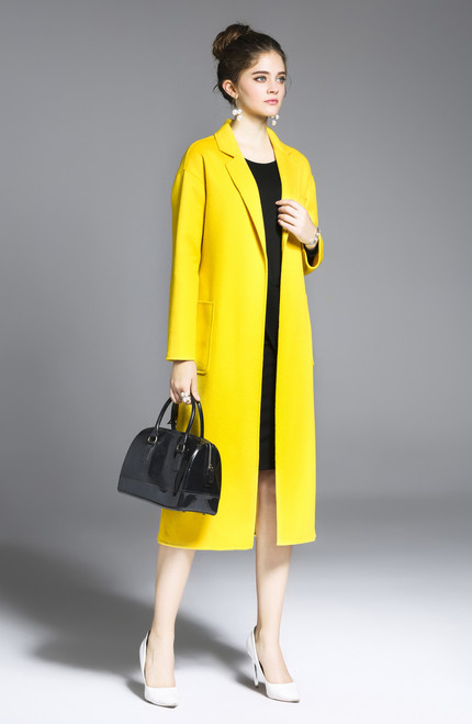 Double Face Yellow Long Wool - Cashmere Coat