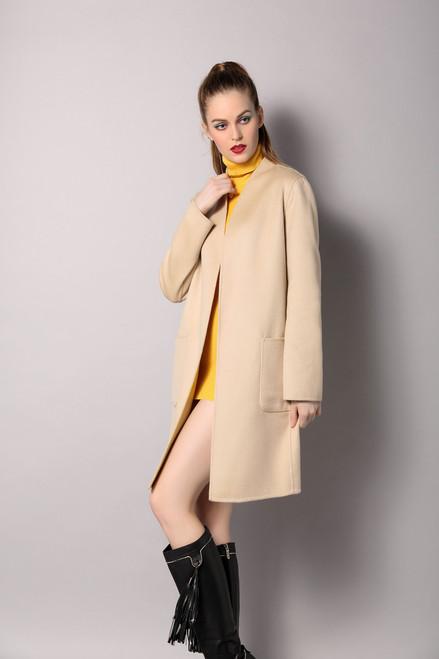 Double Faced Reversible Beige/ Light Yellow Coat