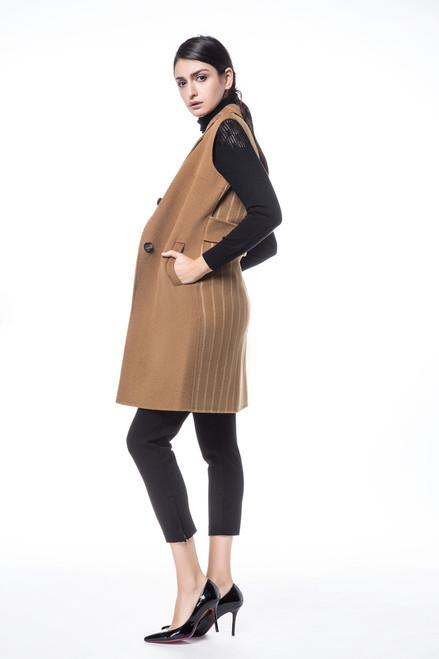 Camel Striped Wool Vest